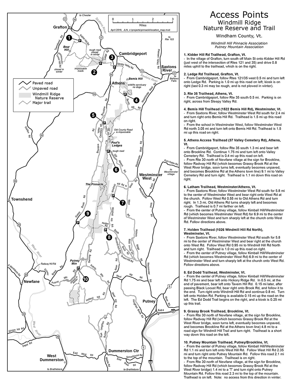 Windmill Hill Pinnacle Association Access Points Map