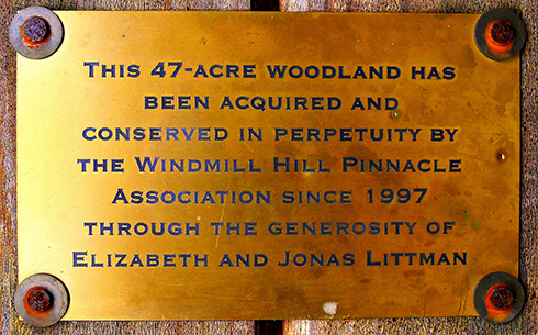 A brass plaque, displayed inside the shelter, acknowledges the Littmans' generous gift of the cabin and its surrounding land to WHPA – which made the Pinnacle experience possible for generations of visitors and guests.